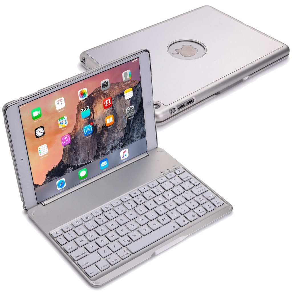 for ipad 2017 5th 2018 6th gen silver bluetooth keyboard. Black Bedroom Furniture Sets. Home Design Ideas