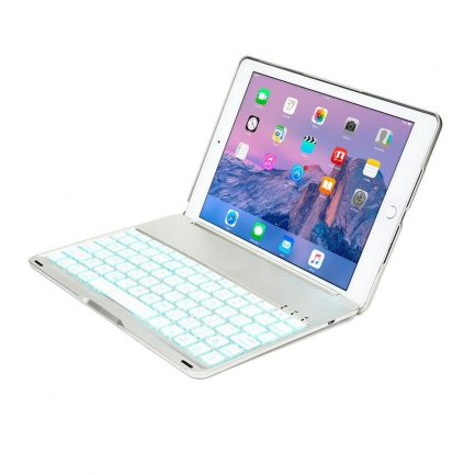 Low price iPad Air backlit smart aluminium bluetooth keyboard case Silver