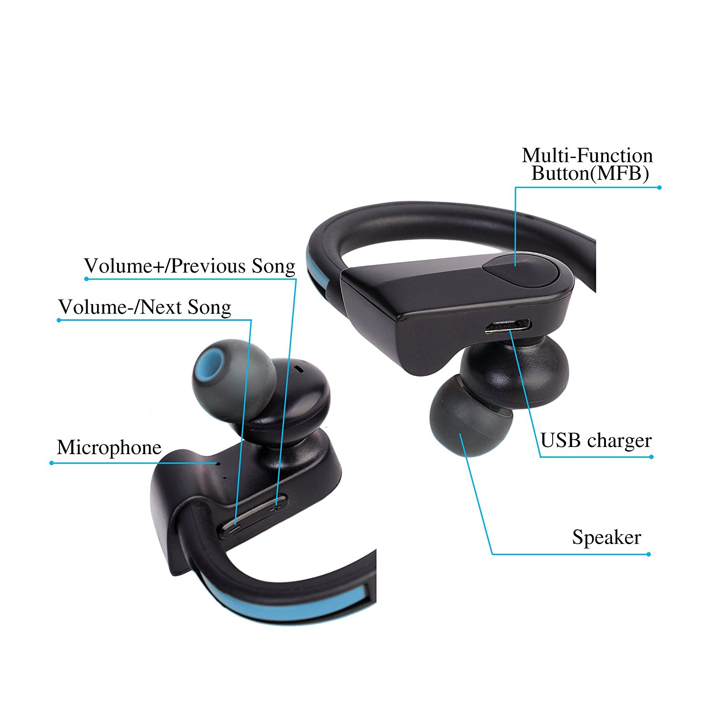 best Wireless Bluetooth Earphones Headphones Headset Mic Sport Mobile Phone
