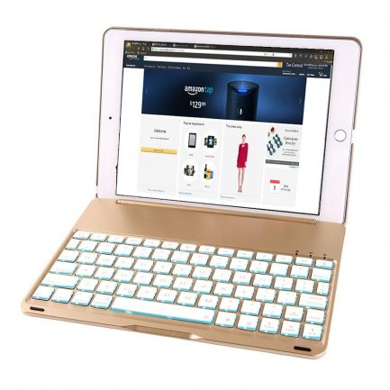 Gold IPad Pro 9.7 Aluminum Smart Bluetooth Keyboard Case 7 Colors