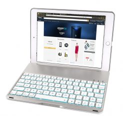 On sale 7 Colour Backlit Smart Bluetooth Keyboard Case For iPad 9.7 Pro SILVER