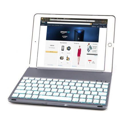GREY iPad Pro 9.7 Aluminum Bluetooth Keyboard Case 7 Colour Backlit