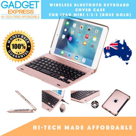 best price ipad mini 3/2/1 wireless bluetooth keyboard cover case rosegold