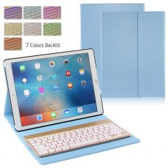 "On sale iPad Pro 12.9"" Folio Aluminum Backlit Bluetooth Keyboard Folio Case - Blue"