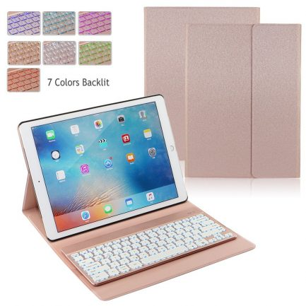 "On sale iPad Pro 12.9"" 2017 Backlit Bluetooth Keyboard Folio Case - Rose Gold"