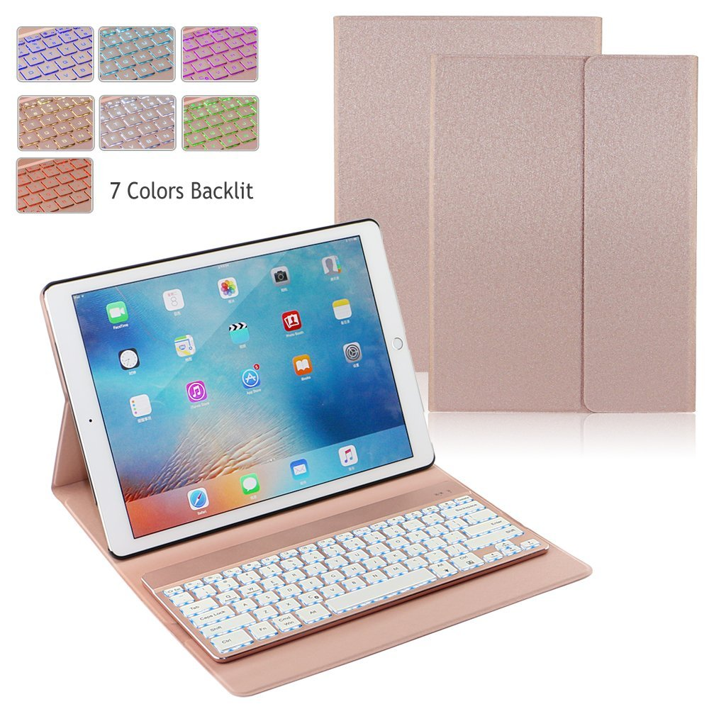 rose gold ipad pro 12 9 2017 backlit bluetooth keyboard. Black Bedroom Furniture Sets. Home Design Ideas