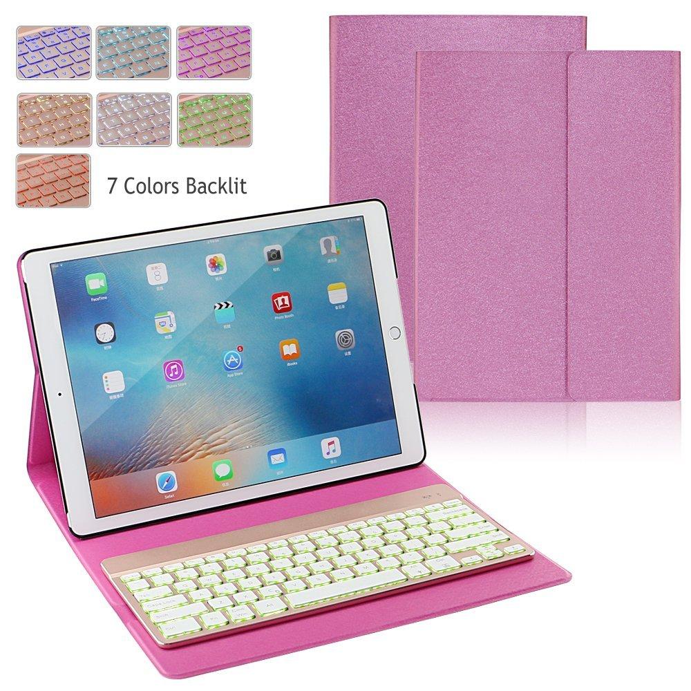 iPad 12.9 2017 Folio Leather Bluetooth Keyboard Folio Case ...