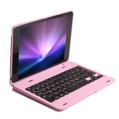 On sale Bluetooth Keyboard Cover Case For IPad Mini 3/2/1 - Pink + Free Glass