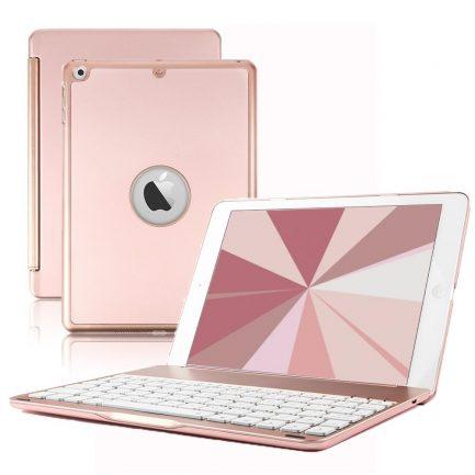 best price iPad 2017 5TH GEN Smart Bluetooth Keyboard Case 7 Colors Backlit