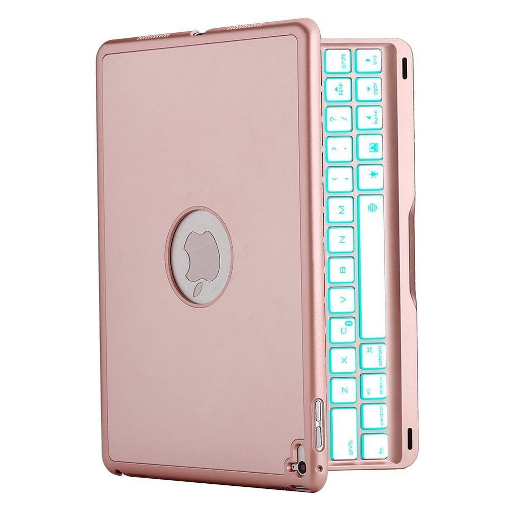 ipad 2017 5th gen air smart bluetooth keyboard case 7 colours backlit rose gold. Black Bedroom Furniture Sets. Home Design Ideas