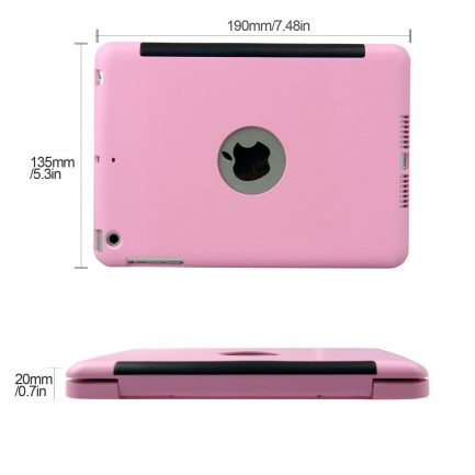 Cheap iPad mini 3/2/1 Bluetooth Keyboard Cover Case - Pink