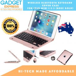 quality wireless bluetooth keyboard folio rose gold case cover fits apple ipad mini 123
