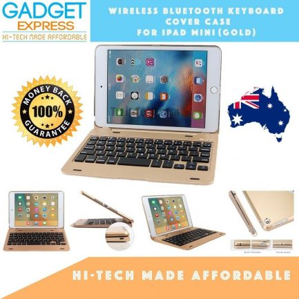 best ipad mini 1/2/3 wireless bluetooth keyboard gold cover case