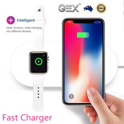 iPhone iWatch AirPods 2IN1 Fast Wireless Fast Charger Pad Mat