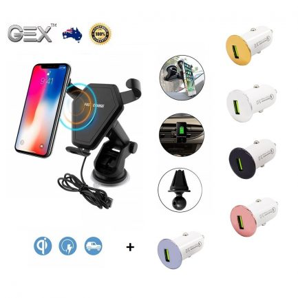 best price Samsung iPhone 8 Qi Fast Wireless Car Charger Holder Dock Kit Mount