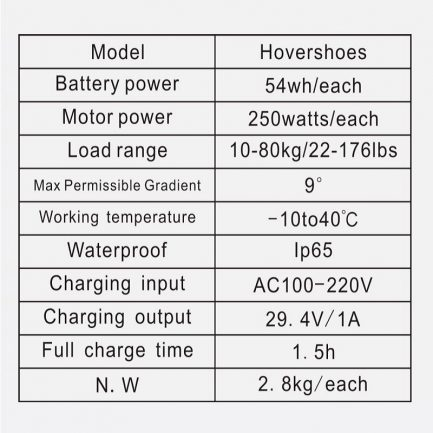 Self Balancing Scooter Smart Skates specs sheet Hovershoe Electric Hover Shoes