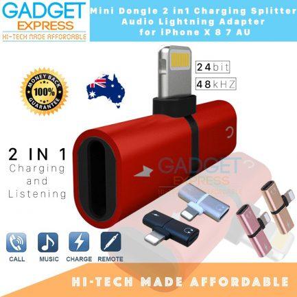 Mini Dongle 2 in 1 Charging Splitter Audio Lightning Adapter iPhone X XR XS Max 8 7